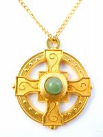 Celtic Cross Green Aventurine Gem Stone Pendant and Necklace Chain.